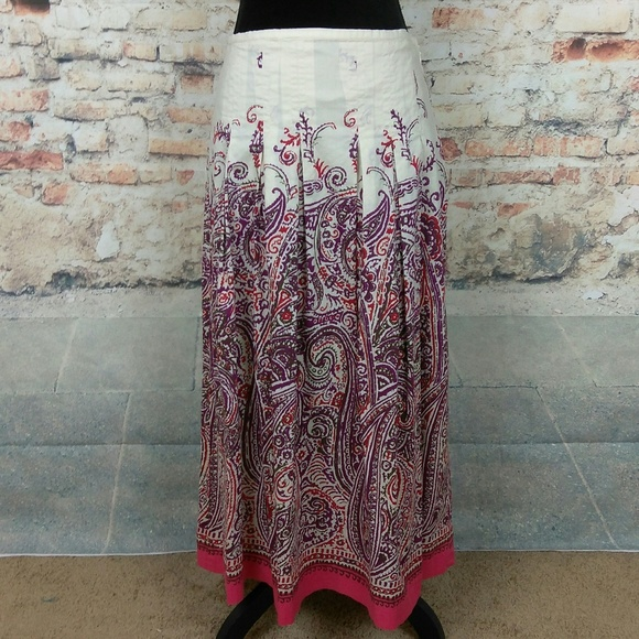 fe4c6ae6b6 Talbots Skirts | 4 Multicolor Paisley Cotton Midi Skirt | Poshmark